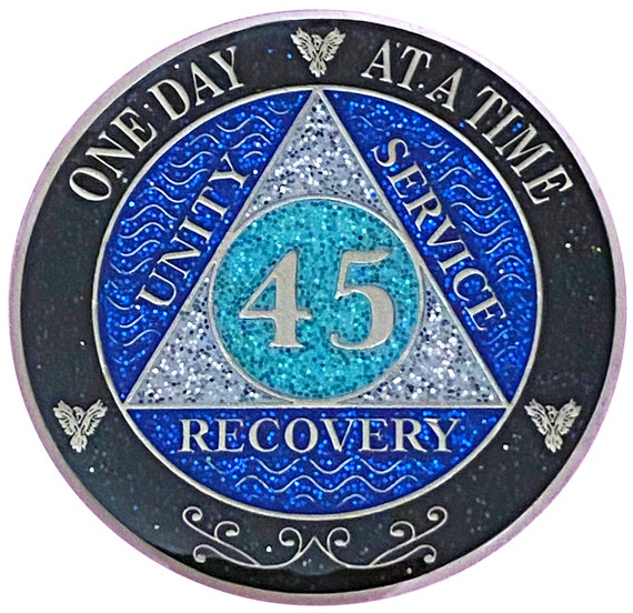 AA 45 Year Silver Color Plated Glitter Coin, Blue, Silver, Black Rainbow Glitter Alcoholics Anonymous Medallion