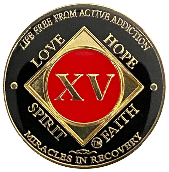 NA 15 Year Gold Color Plated-Medallion, Narcotics Anonymous Coin, Recovery Chip