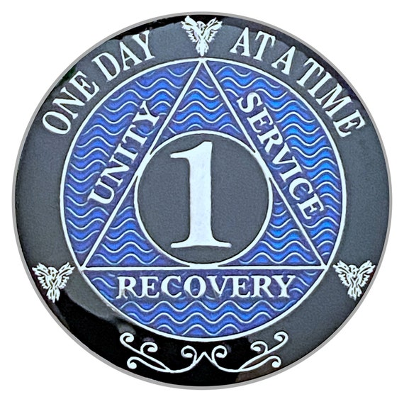 1 Year AA Coin Silver Color Plated Medallion, Recovery Chip, 12 Step Token, Alcoholics anonymous coin
