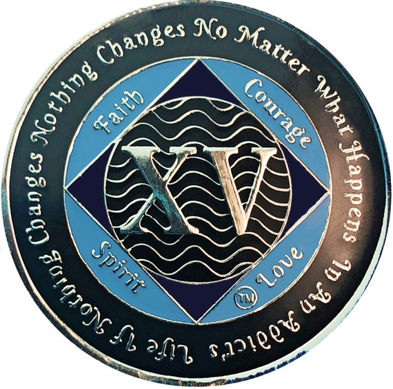 NA 15 Year Silver Color Plated Coin, Narcotics Anonymous Medallion, Recovery Chip