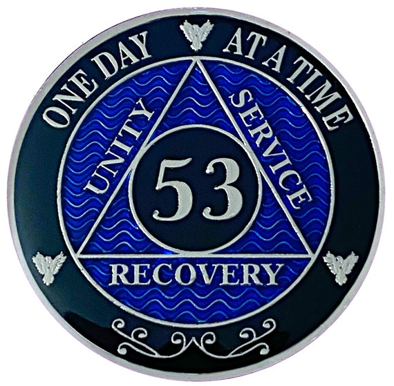53 Year AA Coin Silver Color Plated-Medallion, Recovery Chip, 12 Step Token, Alcoholics anonymous coin