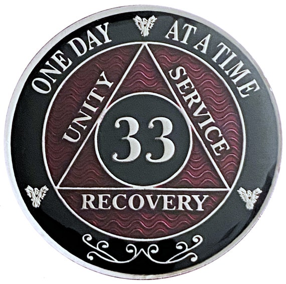 33 Year AA Coin Silver Color Plated-Medallion, Recovery Chip, 12 Step Token, Alcoholics anonymous coin