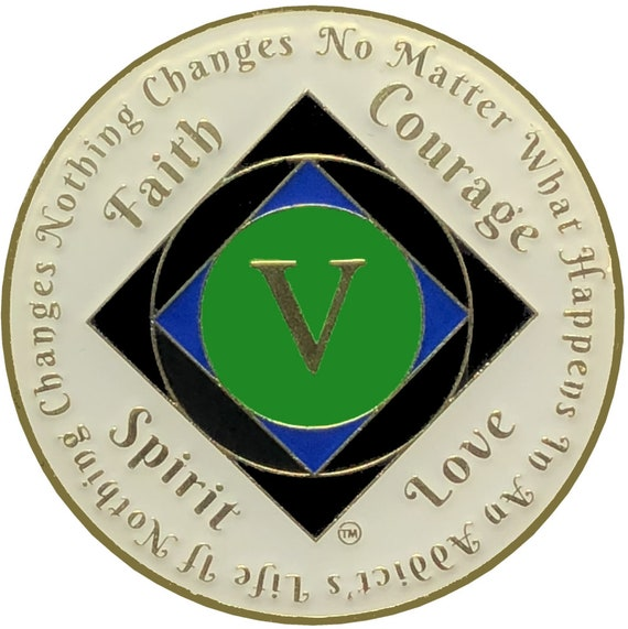 NA 5 Year Gold Color Plated Coin, Narcotics Anonymous Medallion