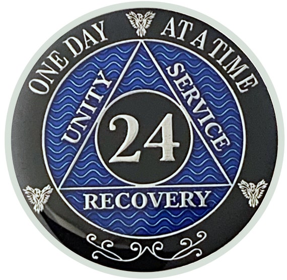24 Year AA Coin Silver Color Plated Medallion, Recovery Chip, 12 Step Token, Alcoholics anonymous coin