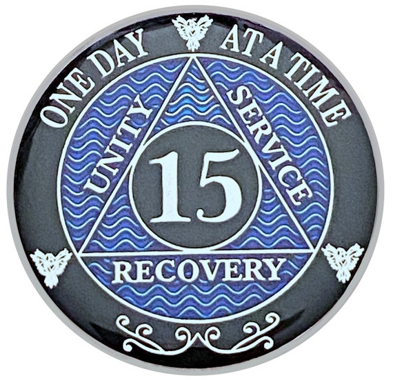 15 Year AA Coin Silver Color Plated Medallion, Recovery Chip, 12 Step Token, Alcoholics anonymous coin