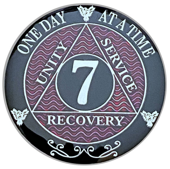 7 Year AA Coin Silver Color Plated-Medallion, Recovery Chip, 12 Step Token, Alcoholics anonymous coin