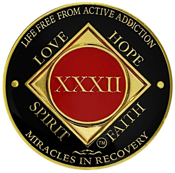 NA 32 Year Gold Color Plated Coin, Narcotics Anonymous Medallion