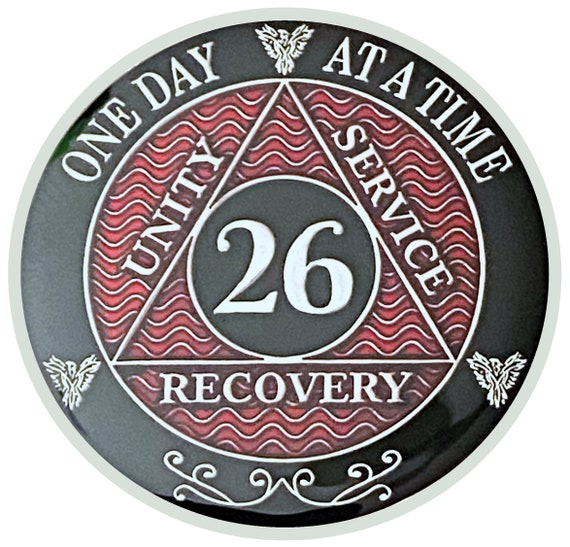 26 Year AA Coin Silver Color Plated Medallion, Recovery Chip, 12 Step Token, Alcoholics anonymous coin