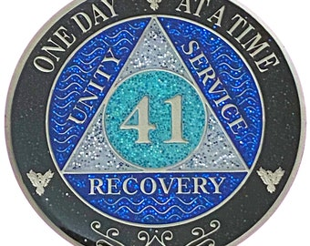 AA 41 Year Silver Color Plated Glitter Coin, Blue, Silver, Black Rainbow Glitter Alcoholics Anonymous Medallion