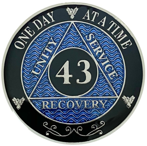 AA 43 Years Silver Color Plated Coin, Alcoholics Anonymous Medallion