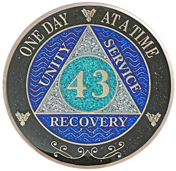 AA 43 Year Silver Color Plated Glitter Coin, Blue, Silver, Black Rainbow Glitter Alcoholics Anonymous Medallion