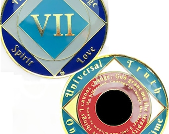 14K Gold Plated 7 Year Recovery Clean Time Birthday Medallion Sealed With Epoxy For A Shiny Glossy Look, NA Coin | Simply Minimal™