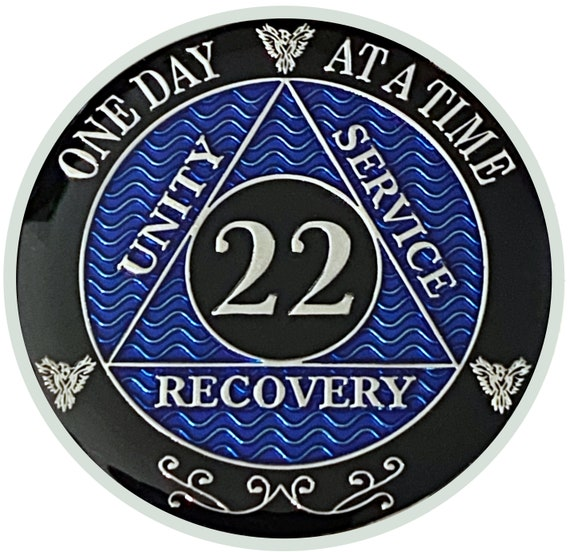 22 Year AA Coin Silver Color Plated Medallion, Recovery Chip, 12 Step Token, Alcoholics anonymous coin