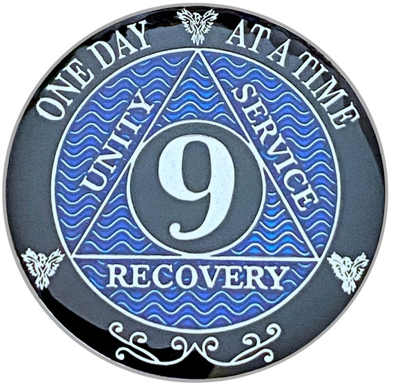 9 Year AA Coin Silver Color Plated-Medallion, Recovery Chip, 12 Step Token, Alcoholics anonymous coin