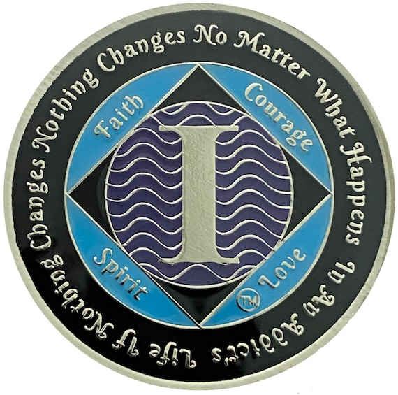 NA 1 Year Silver Color Plated Coin, Narcotics Anonymous Medallion