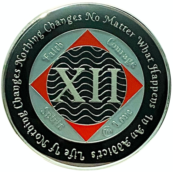 NA 12 Year Silver Color Plated Coin, Narcotics Anonymous Medallion