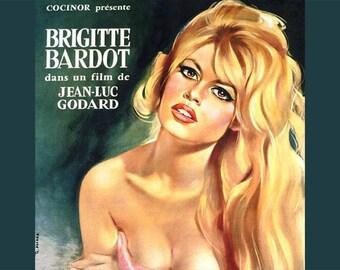 SET of VINTAGE TABLE - Poster - french Cinema - Brigitte Bardot, contempt. Classic version.