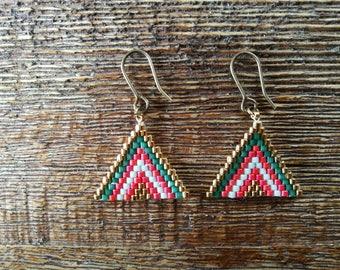 Boho seed peyote stitch earrings