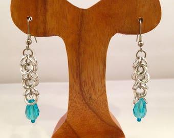 Cascade Earrings With Blue Glass Bead