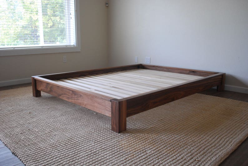 Low Profile Platform Bed In Black Walnut Twin Full Queen Etsy