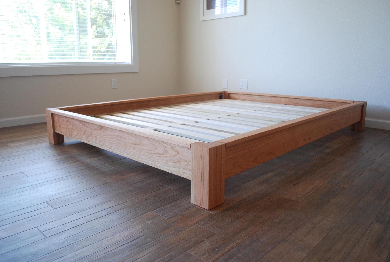 low profile platform bed in cherry simple bed frame solid etsy. Black Bedroom Furniture Sets. Home Design Ideas