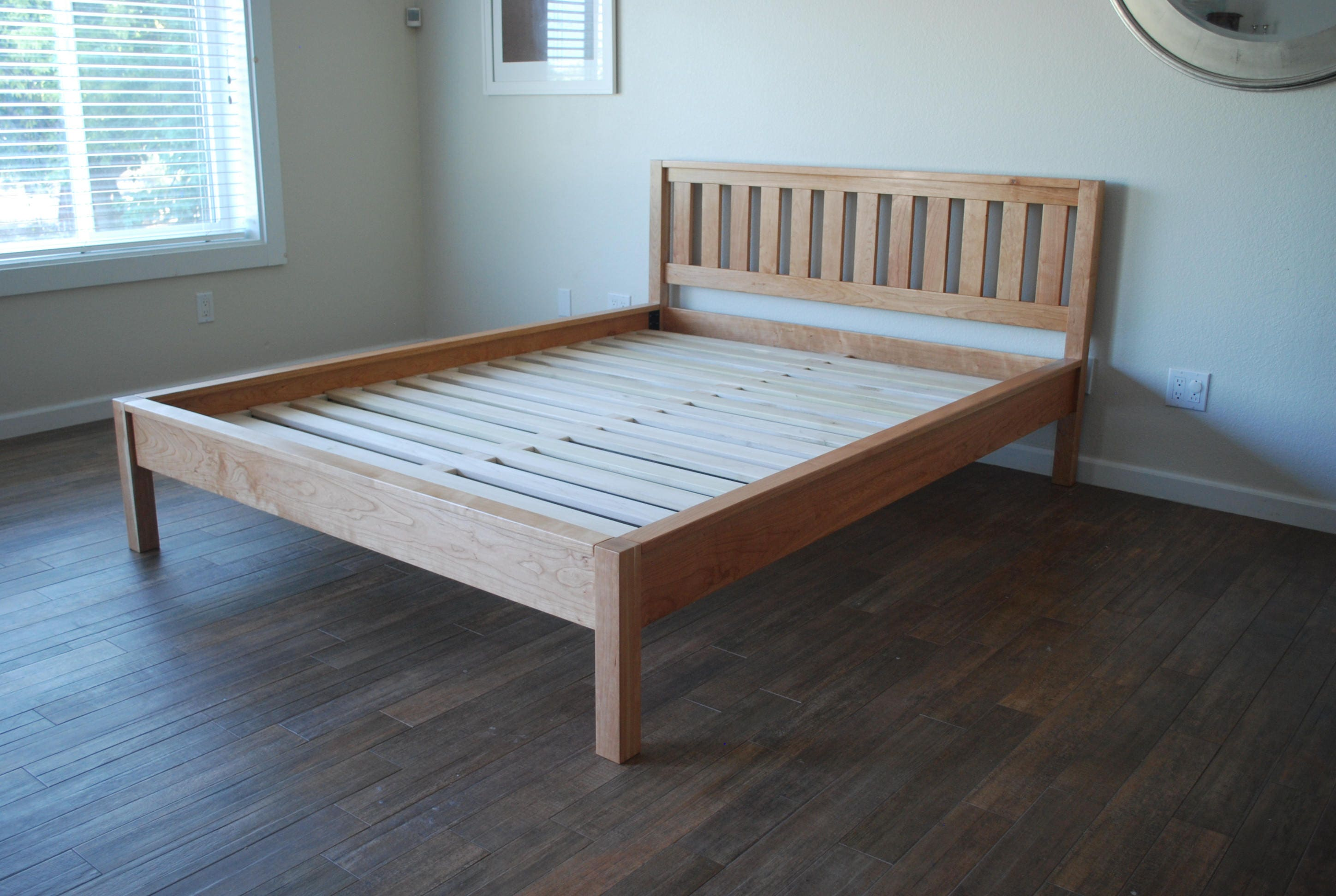 Simple Bed Frame with Slatted Headboard Platform Bed with ...
