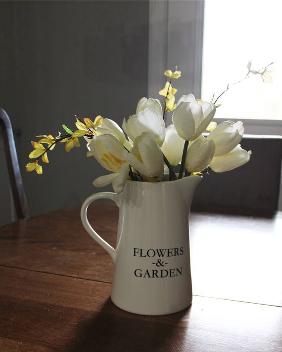 Ceramic Pitcher Farmhouse Decor Farmhouse Pitcher Flower Etsy