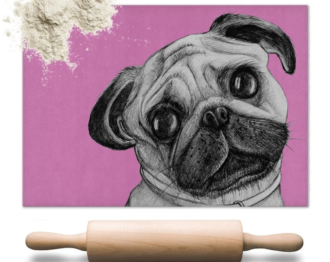 Pug Glass Chopping Board | Worktop Saver