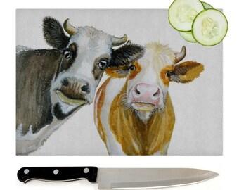 Cows Glass Chopping Board   Worktop Saver