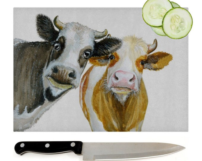 Cows Glass Chopping Board | Worktop Saver
