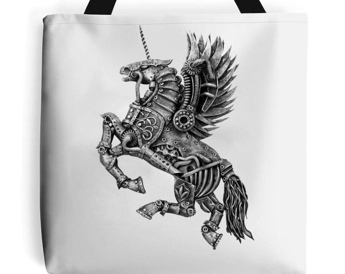Steampunk Winged Unicorn Tote Bag