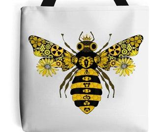Steampunk Queen Bee Tote Bag   Beach Bag