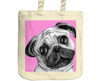 Pug Tote Bag   Beach Bag