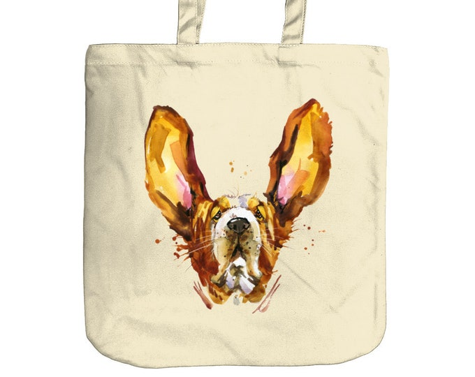 Basset Hound Tote Bag | Eco-Friendly Organic Cotton Canvas |  Shopping Bag for Life | Beach Bag | Mothers Day
