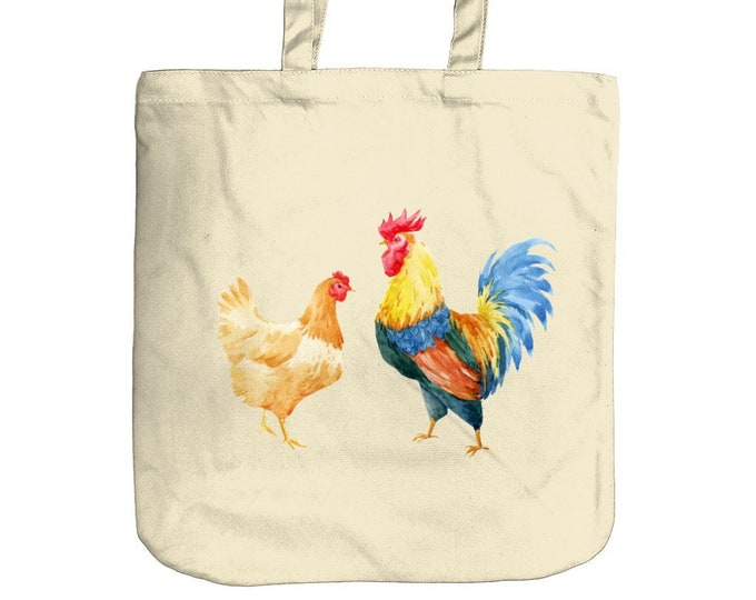 Chickens Tote Bag | Eco-Friendly Organic Cotton Canvas |  Shopping Bag for Life | Beach Bag | Mothers Day