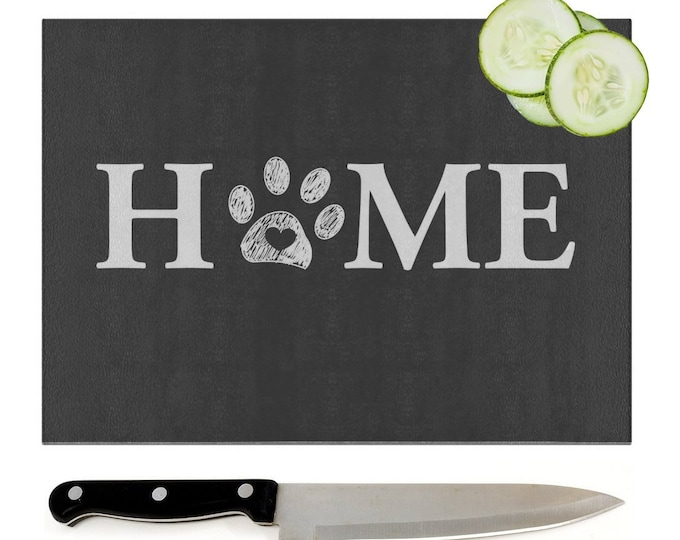 Pawprint Glass Chopping Board | Worktop Saver