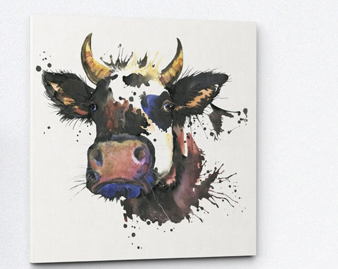 Featured listing image: Watercolour Cow - Small Canvas Print   Father's Day Gift Idea