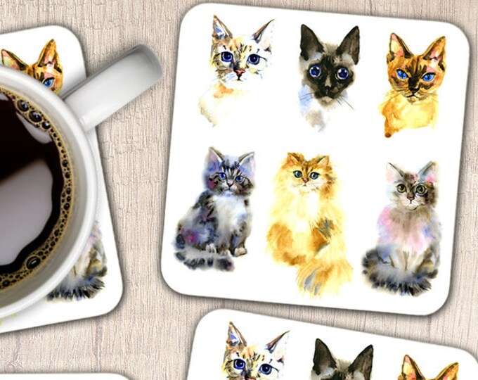 Set of 4 Cats & Kittens Coasters