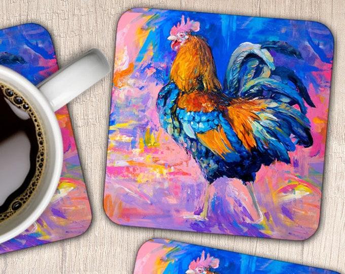 Set of 4 Cockerel Coasters