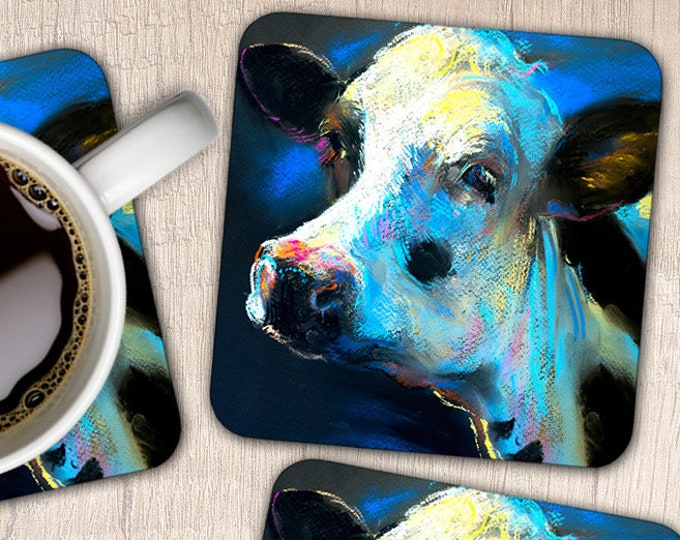 Set of 4 Pastel Cow Coasters