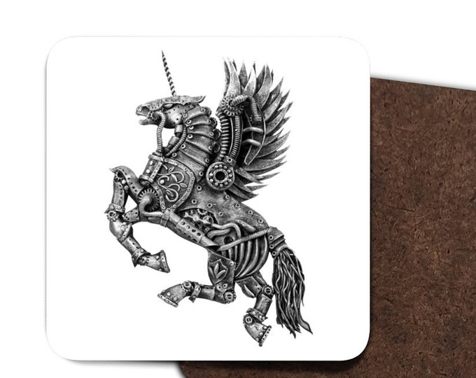 Steampunk Winged Unicorn Coasters
