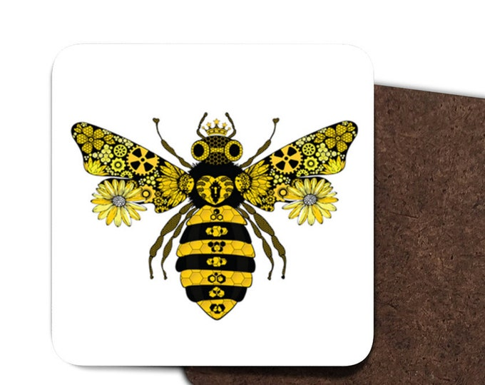 Set of 4 Steampunk Queen Bee Coasters