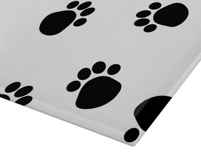 Pawprints Glass Chopping Board | Worktop Saver