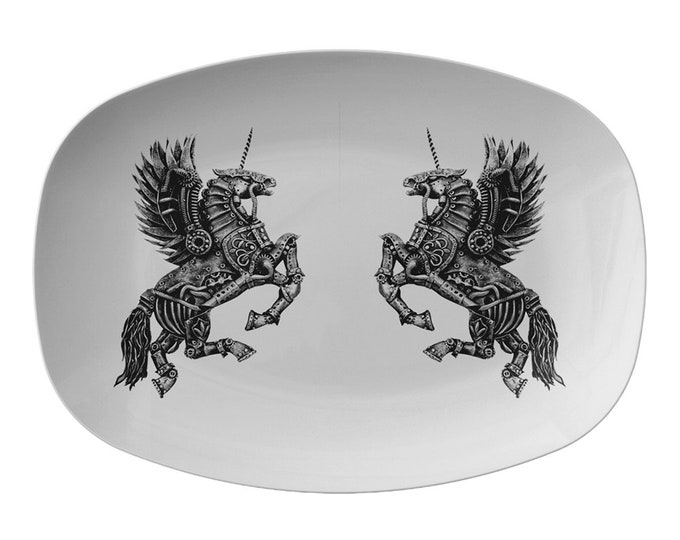 Steampunk Winged Unicorn Serving Platter