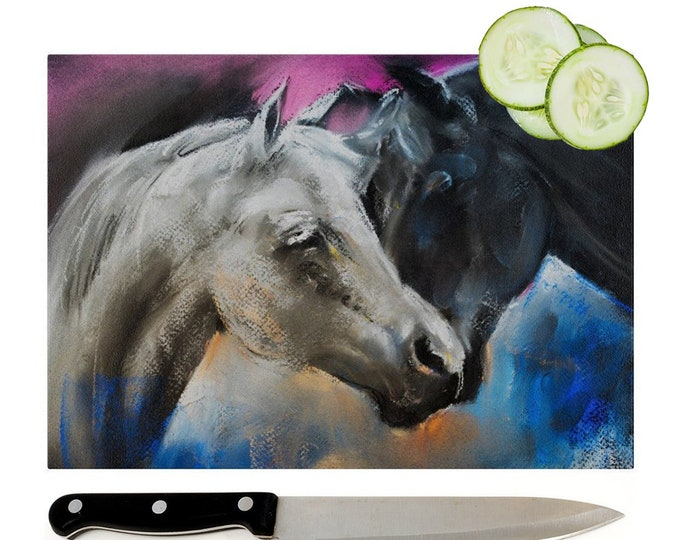 Arab Horses Glass Chopping Board | Worktop Saver