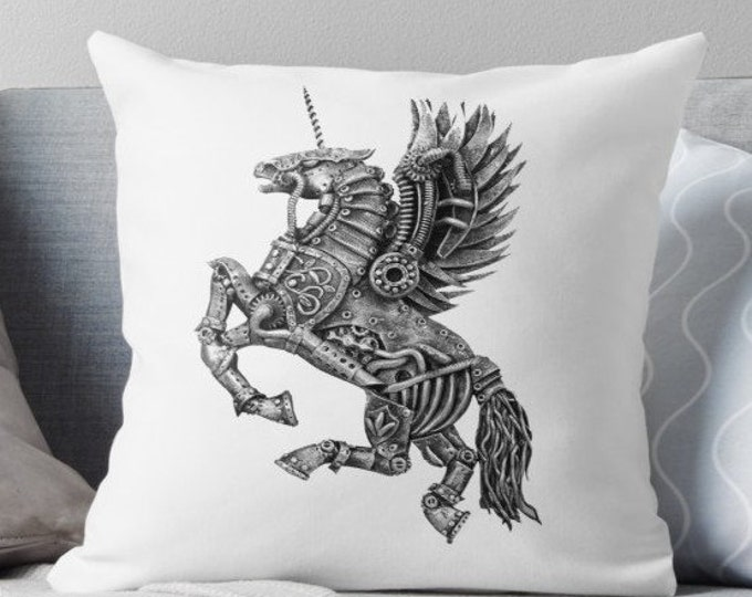Steampunk Winged Unicorn Cushion | Throw Pillow