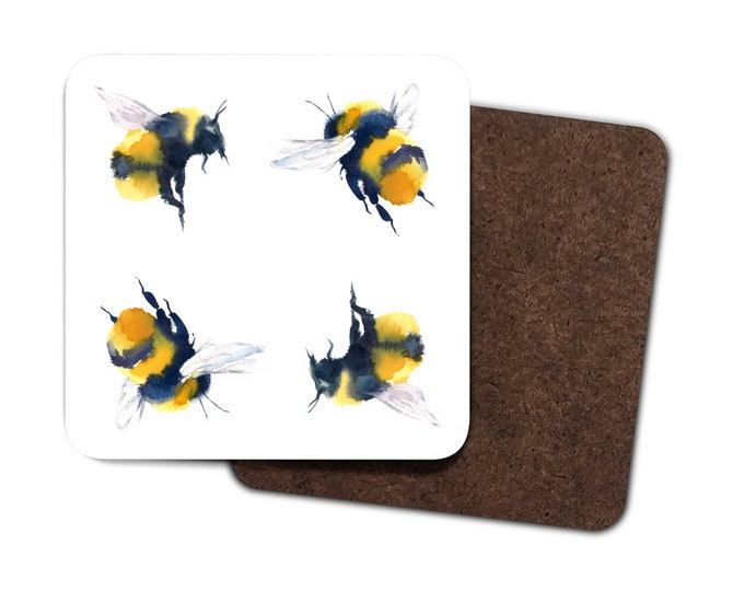 Set of 4 Bee Coasters | Bumble Bee Mats