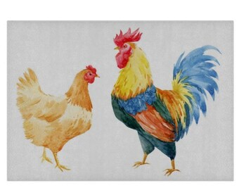 Chickens Glass Chopping Board   Worktop Saver