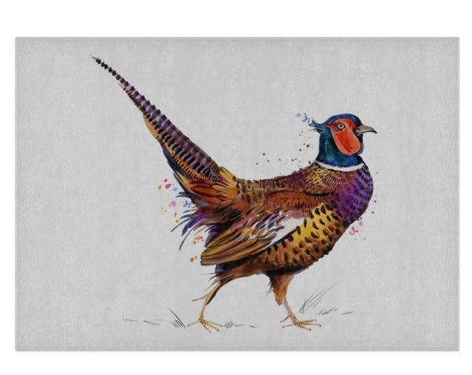 Pheasant Glass Chopping Board | Worktop Saver