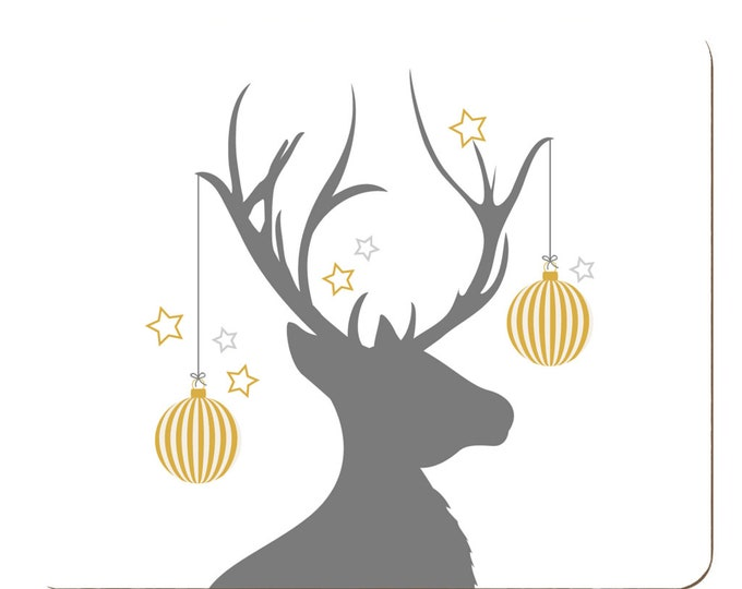 Featured listing image: Set of 2 or 4 or 4 Stag Placemats | Christmas Home Decor